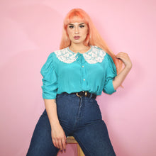 Load image into Gallery viewer, 90s Turquoise Blouse