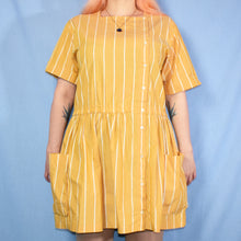 Load image into Gallery viewer, Vintage 80s Mustard Yellow Mini Dress Size UK12