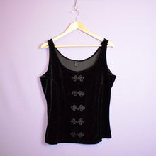 Load image into Gallery viewer, Vintage 90s Black Velvet Top Size UK12/14/16