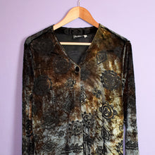 Load image into Gallery viewer, Vintage 90s Tie Dye Velvet Tunic Top Size UK14/16