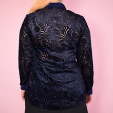 Load image into Gallery viewer, Vintage 90s Navy Velvet Blouse Size UK10