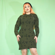 Load image into Gallery viewer, Vintage 90s Khaki Green Dress Size UK10/12/14