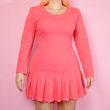 Load image into Gallery viewer, Vintage 80s Coral Pink Mini Dress Size UK10/12