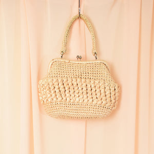 Vintage Beige Wicker Handbag