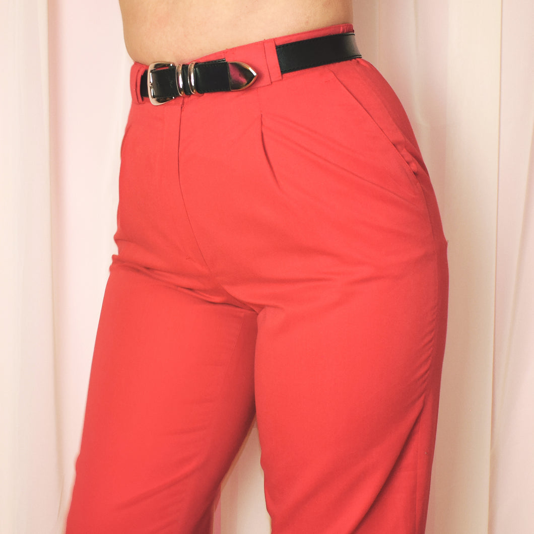 Vintage 90s Coral Red High Waist Trousers Size UK12