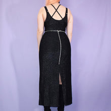Load image into Gallery viewer, Vintage 90s Black Glitter Dress Size UK10/12