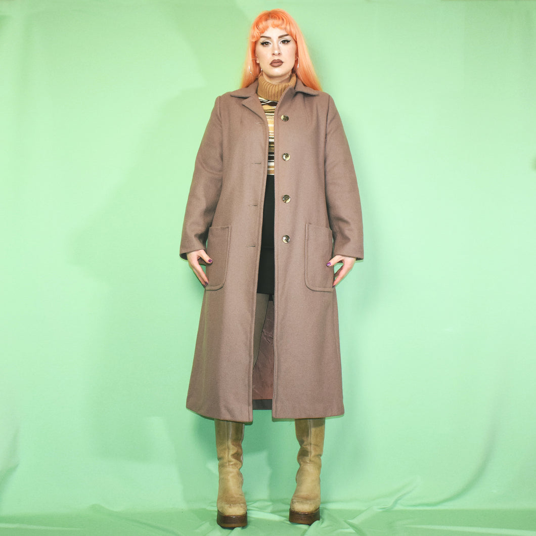 Vintage 80s Brown Long Coat Size UK10