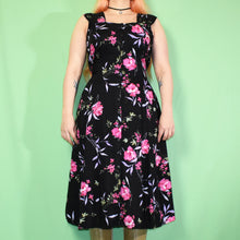 Load image into Gallery viewer, Vintage 90s Black Floral Dress Size UK12
