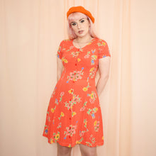 Load image into Gallery viewer, Vintage 90s Orange Floral Dress Size UK10