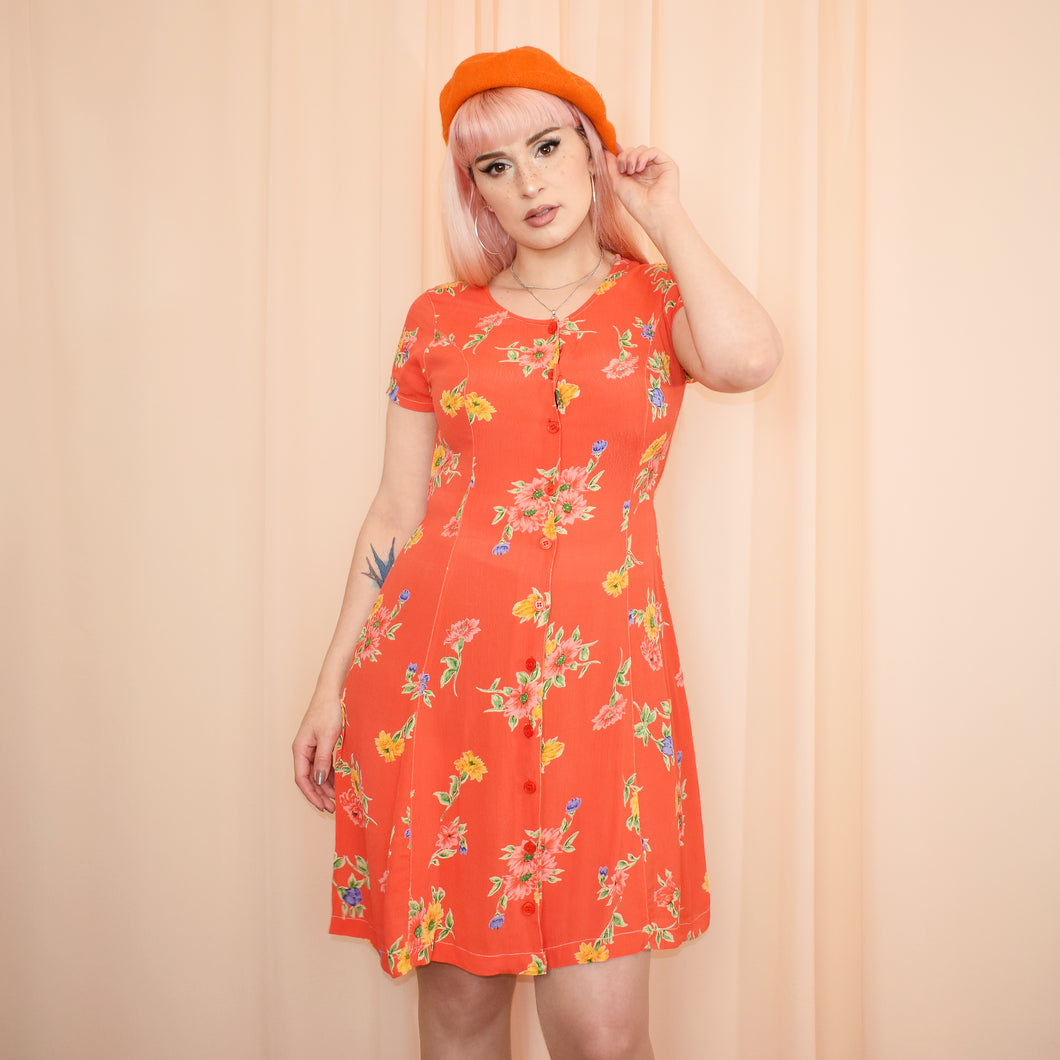 Vintage 90s Orange Floral Dress Size UK10