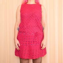 Load image into Gallery viewer, Vintage 60s Hot Pink Crochet Mini Dress Size UK10/12