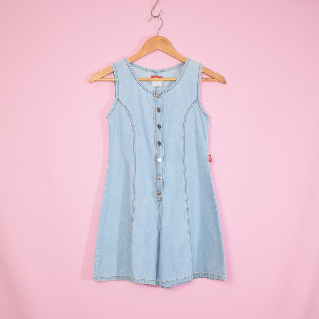 Vintage 90s Blue Denim Playsuit Size UK6