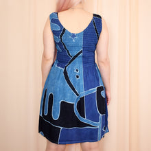 Load image into Gallery viewer, Vintage 90s Blue Boho Dress Size UK10/12