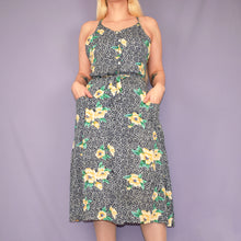 Load image into Gallery viewer, Vintage 90s Blue Floral Dress Size UK10/12