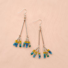 Load image into Gallery viewer, Handmade silver and bead drop earrings
