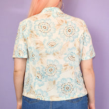 Load image into Gallery viewer, Vintage 90s Pastel Blue and Beige Floral Blouse Size UK12