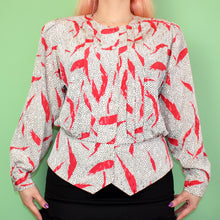 Load image into Gallery viewer, Vintage 80s White, Black and Red Blouse Size UK12