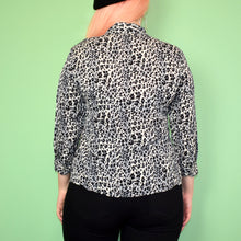 Load image into Gallery viewer, Vintage 90s Grey Leopard Print Blouse Size UK10