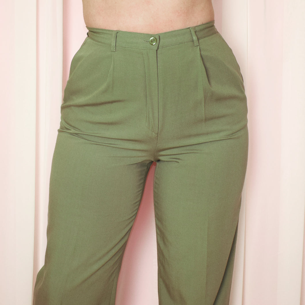 Vintage 90s Khaki Green High Waist Trousers Size UK12