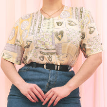 Load image into Gallery viewer, Vintage 90s Pastel Yellow and Green Floral Blouse Size UK12