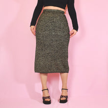 Load image into Gallery viewer, Vintage 80s Black and Gold Glittery Knit Skirt UK12/14