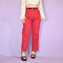 Load image into Gallery viewer, Vintage 90s Red High Waist Trousers Size UK8