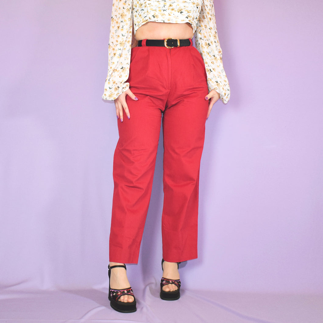 Vintage 90s Red High Waist Trousers Size UK8