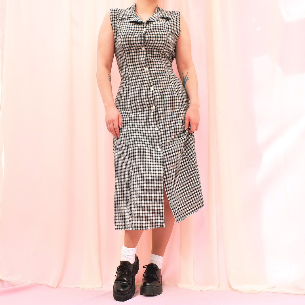 Vintage 90s Black and White Check Dress Size UK10