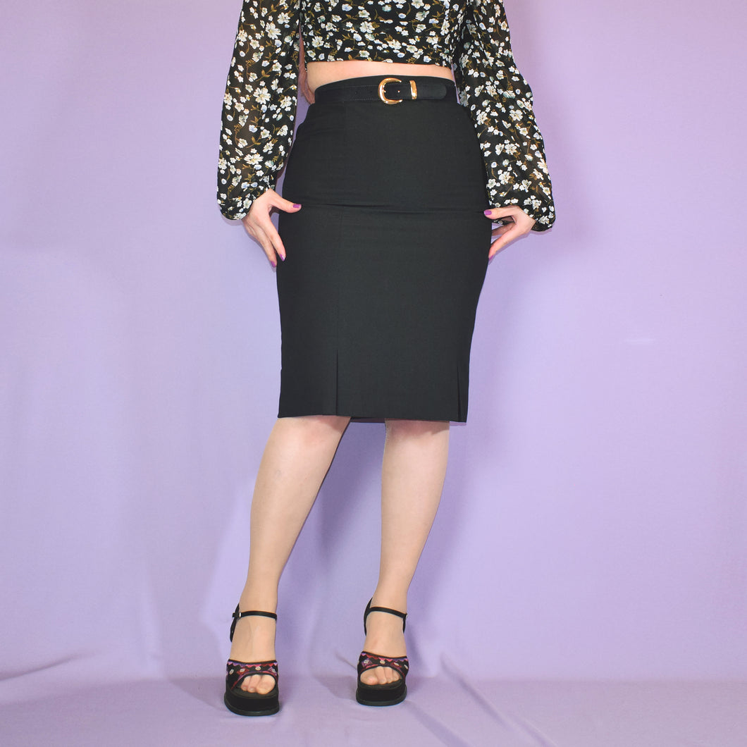 Vintage 90s Black Pencil Skirt UK10.