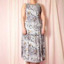 Load image into Gallery viewer, Vintage 90s Light Grey Printed Dress Size UK10