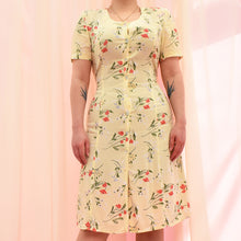 Load image into Gallery viewer, Vintage 90s Pastel Yellow Floral Dress Size UK12