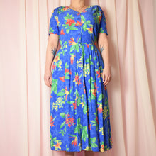 Load image into Gallery viewer, Vintage 90s Bright Blue Floral Dress Size UK12