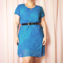 Load image into Gallery viewer, Vintage 90s Turquoise Blue Dress Size UK12/14