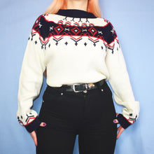 Load image into Gallery viewer, Vintage 90s White Navy and Red Jumper Size UK12/14 - Medium