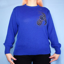 Load image into Gallery viewer, Vintage 80s Electric Blue Jumper Size UK14/16