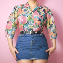Load image into Gallery viewer, Vintage 90s Floral Blouse Size UK12