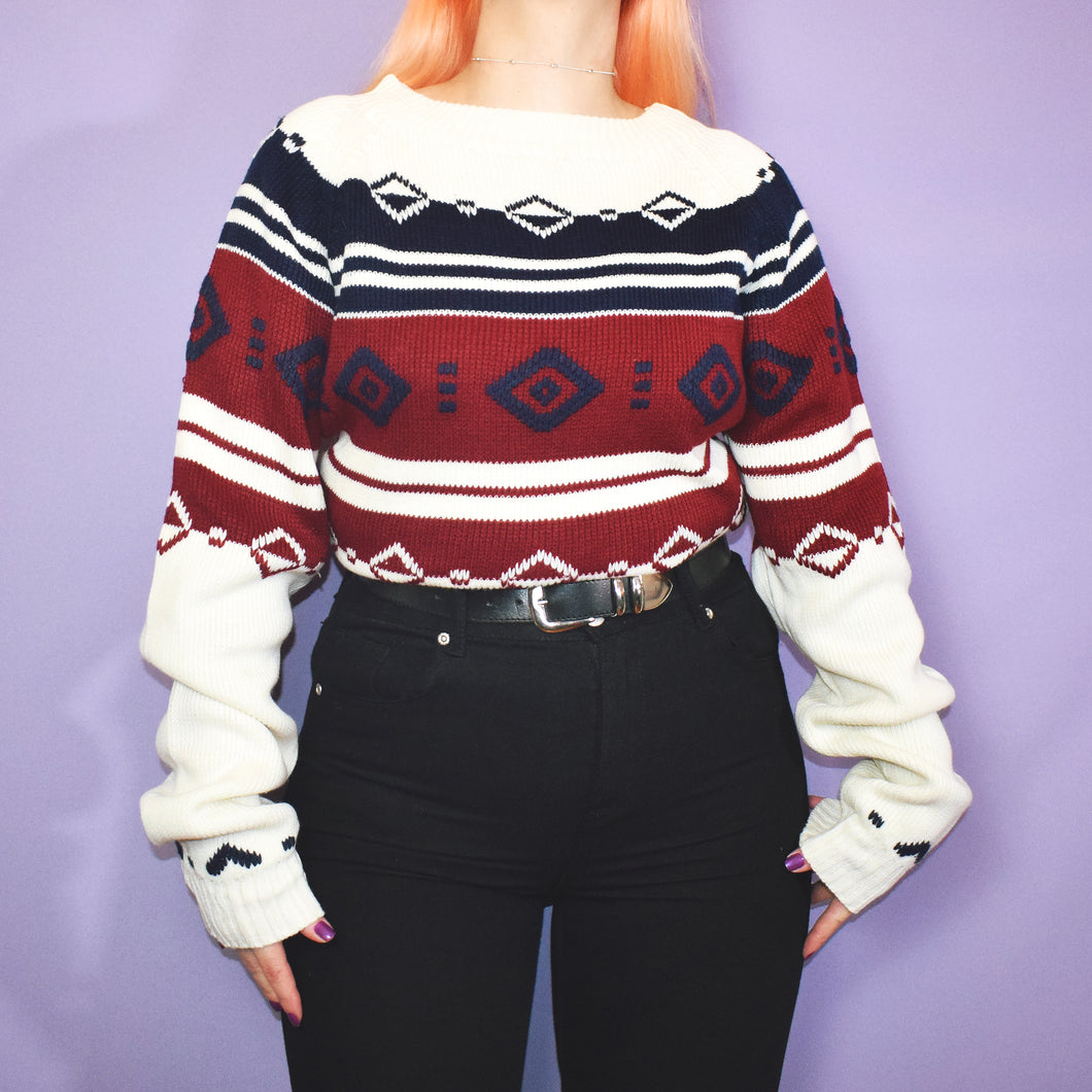 Vintage 90s Ivory Red and Navy Jumper Size UK14/16 - Large
