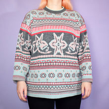 Load image into Gallery viewer, Vintage 90s Pastel Blue, Pink and Grey Jumper Size UK14/16 - Large