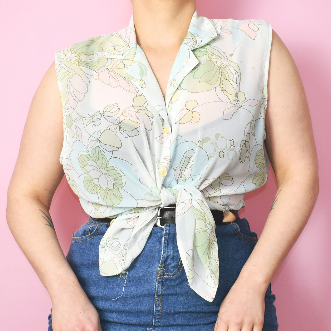 Vintage 90s Ivory Floral Sleeveless Blouse Size UK14