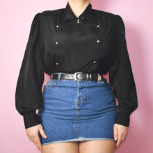 Load image into Gallery viewer, Vintage 80s Black Satin Blouse Size UK14