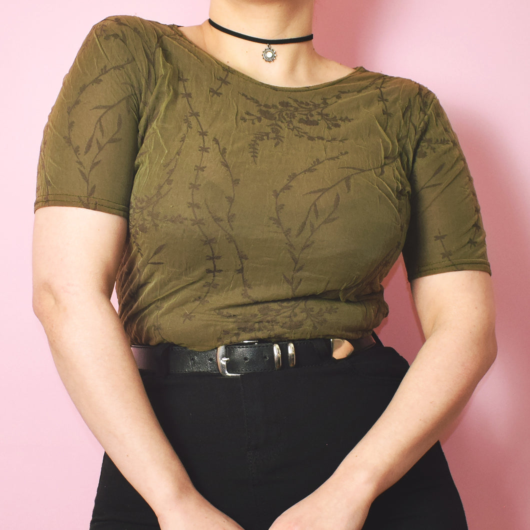 Vintage 90s Khaki Mesh Top Size UK10/12