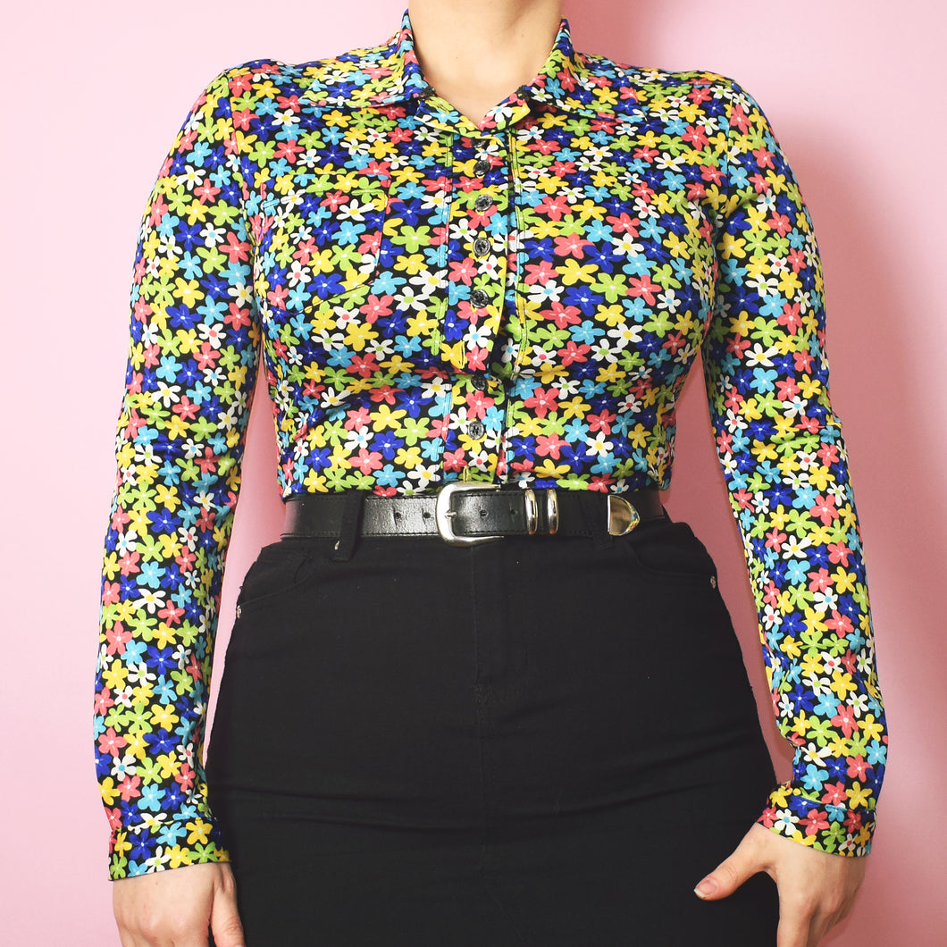 Vintage 90s does the 60s Floral Blouse Size UK8/10