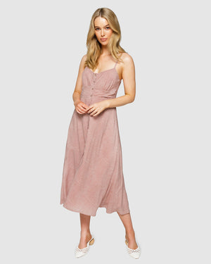 La Rose Midi Slip Dress in Burnt Rose Spot