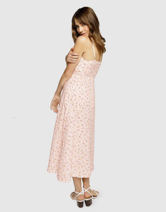 A Walk In Time Midi Slip Dress - Pink Floral