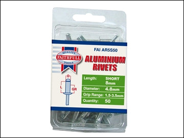 Aluminium Rivets - 5mm x 8mm (Pack 50)