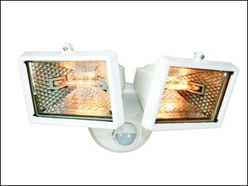 Security Sensor Light - Twin Halogen light & Motion Detector - White (150W)