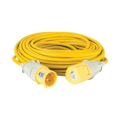 25M Extension Lead - 32A 4mm Cable - Yellow 110V