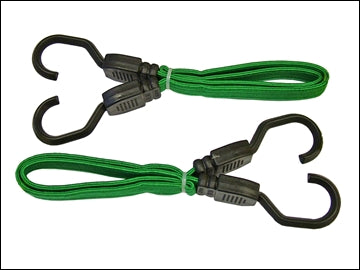 Rubber Tie Down Straps - Flat Bungee Cord 24in (Pack of 2)