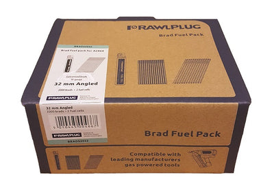 Rawlplug Angled Brad Nails 16 x 32mm x 2000PK Galv Incl. 2 Fuel Cells (Paslode Compatible)