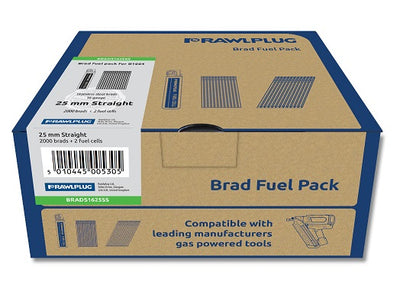 Rawlplug Straight Brad Nails 16x25mm x 2000PK Galv Incl. 2 Fuel Cells (Paslode Compatible)